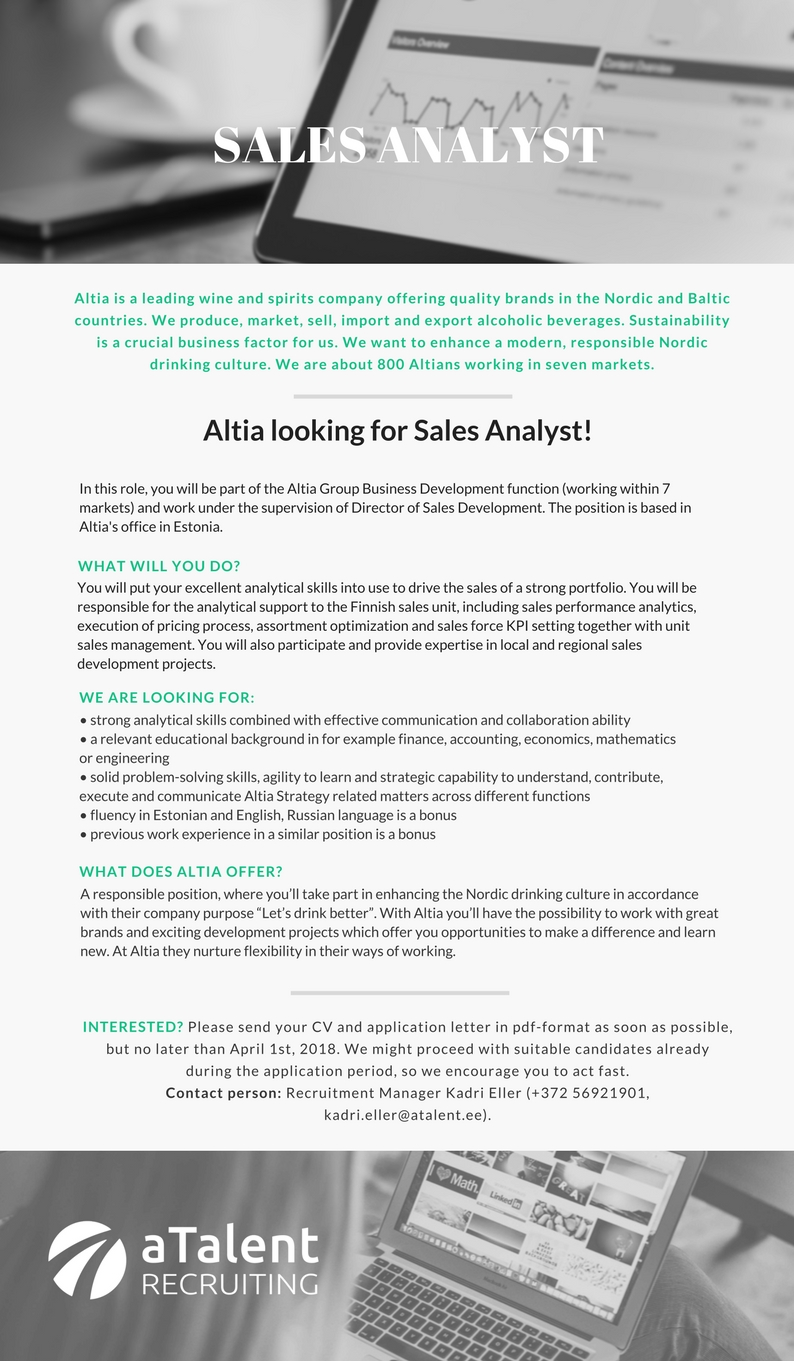 Job Offer For A Sales Analyst Ebster